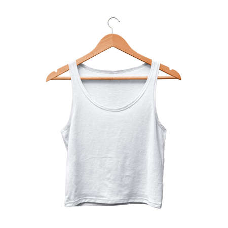 A high resolution Front View Classical Women's Crop Tank Top Mockup In Lucent White Color With Hanger, to help you present your design ideas more valuable and beautifully