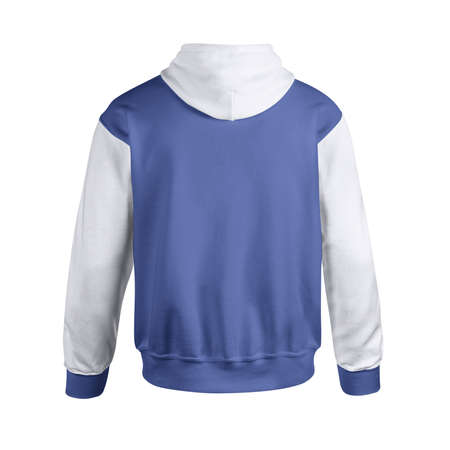 Give a boost to your designing activity by using this Back View Creative Men's Hoodie Mockup In Deep Ultramarine Color. 免版税图像
