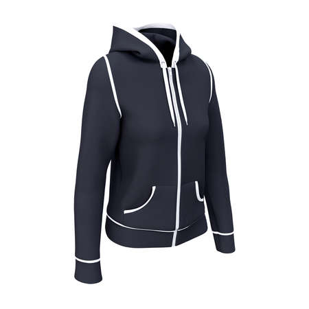 A Side View Artistic Women's Zip Up Hoodie Mockup In Dark Sapphire Color, to display your designs and brand logo more valuable.