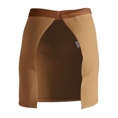 A modern Back View Stylish Half Waist Apron Mockup In Brown Sugar Color template, to help you form your work more quickly.
