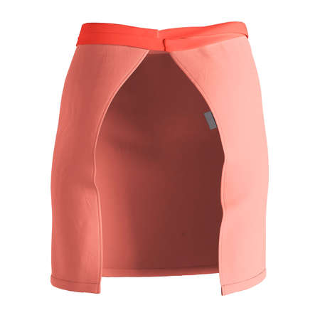 A modern Back View Stylish Half Waist Apron Mockup In Fusion Coral Color template, to help you form your work more quickly. Stockfoto