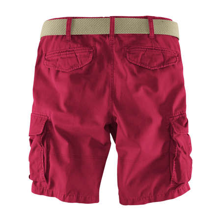 Showcase your designs like an expert with this Back View Fantastic Men's Shorts Mockup In Red Bud Color. Customize everything you need. Stockfoto