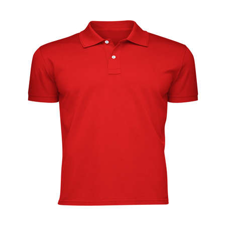 Paste the beauty of your design into this Front View Fancy Men's Collar T Shirt Mockup In Fiery Red Color, and everything will appear to be real.