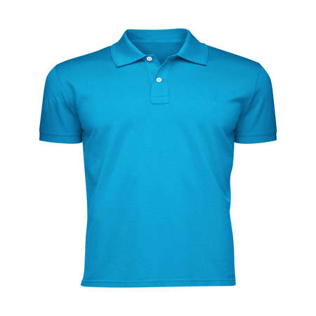 Paste the beauty of your design into this Front View Fancy Men's Collar T Shirt Mockup In Blue Atoll Color, and everything will appear to be real.