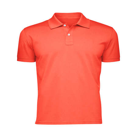 Paste the beauty of your design into this Front View Fancy Men's Collar T Shirt Mockup In Camellia Orange Color, and everything will appear to be real.