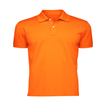 Paste the beauty of your design into this Front View Fancy Men's Collar T Shirt Mockup In Carrot Curl Color, and everything will appear to be real.