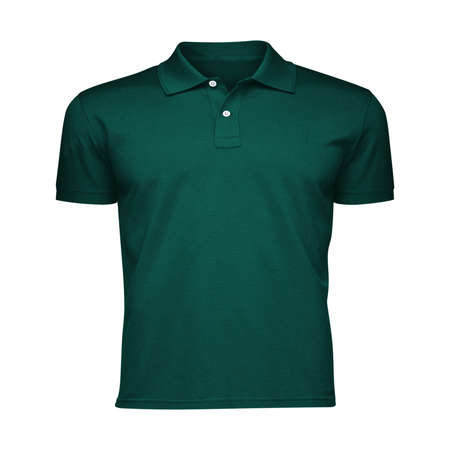 Paste the beauty of your design into this Front View Fancy Men's Collar T Shirt Mockup In Alpine Green Color, and everything will appear to be real. Stockfoto