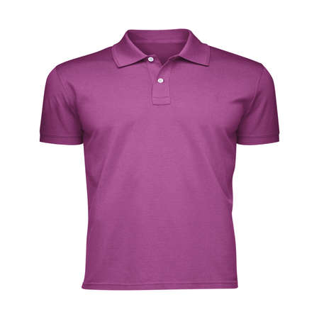 Paste the beauty of your design into this Front View Fancy Men's Collar T Shirt Mockup In Radiant Orchid Color, and everything will appear to be real.