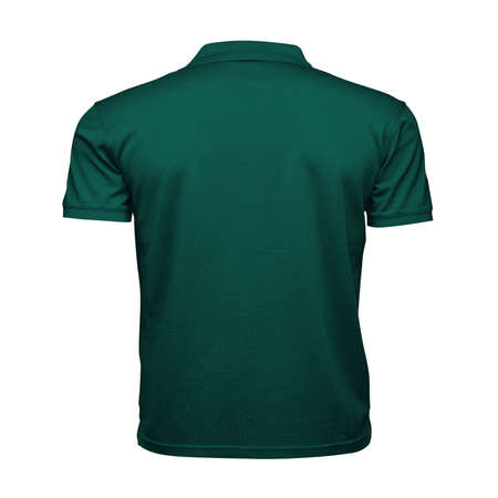Just place your picture on this Back View Fancy Men's Collar T Shirt Mockup In Alpine Green Color, and your products will be ready to be advertised.
