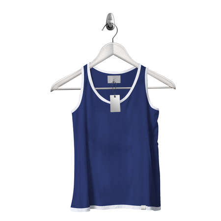 Use this Front View Classical Tank Top Mockup In Deep Ultramarine Color With Hanger, to get more wonderful design products.