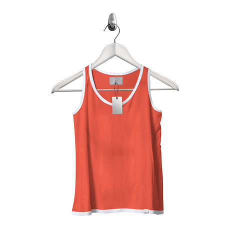 Use this Front View Classical Tank Top Mockup In Camellia Orange Color With Hanger, to get more wonderful design products.