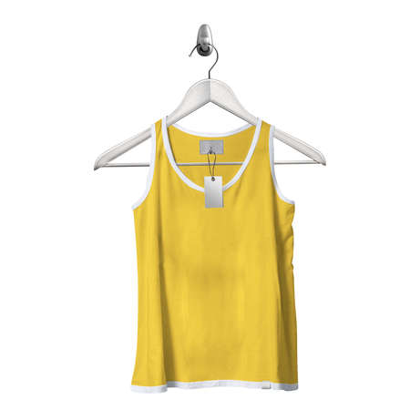 Use this Front View Classical Tank Top Mockup In Lemon Zest Color With Hanger, to get more wonderful design products. Stockfoto