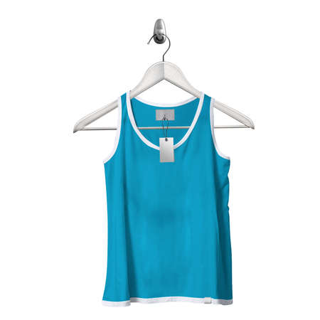 Use this Front View Classical Tank Top Mockup In Blue Atoll Color With Hanger, to get more wonderful design products.