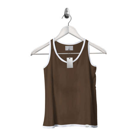 Use this Front View Classical Tank Top Mockup In Sepia Brown Color With Hanger, to get more wonderful design products.