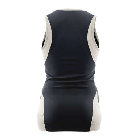 Just place your design on This Back View Stylish V Neck Netball Dress Mockup In Dark Sapphire Color, and your products are ready to go.
