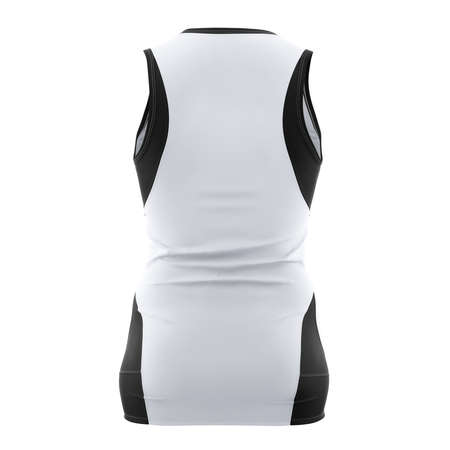 Just place your design on This Back View Stylish V Neck Netball Dress Mockup In Lucent White Color, and your products are ready to go.
