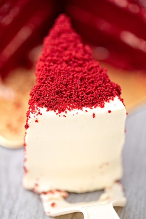 Close up shot, pieces of red velvet cake