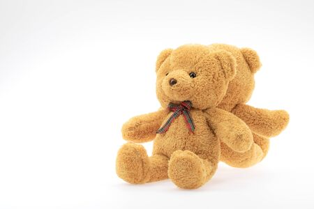 Two brown bear dolls sitting on white background with copy space on left. 版權商用圖片 - 137240113
