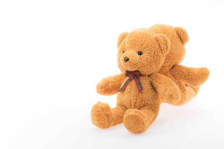 Two brown bear dolls sitting on white background with copy space on left.