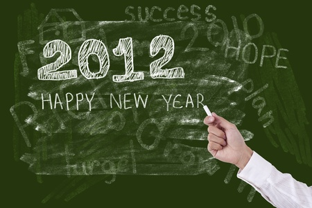 Hand drawing Happy New Year 2012 Stock Photo
