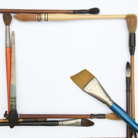 Paint brushes isolated on the white background