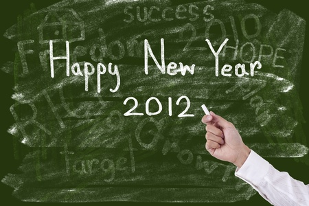 Hand drawing Happy New Year 2012 photo