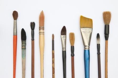 Paint brushes isolated on the white background