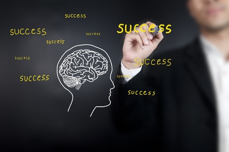 Businessman drawing brain with wording photo