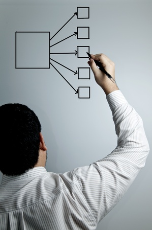 businessman's hand drawing an organization chart on a white board Stock Photo