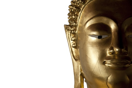 Face of Buddha statue isolated on white background