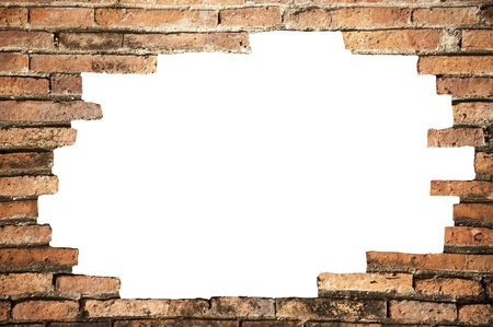 Hole in the brickwall, texture background.