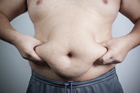 belly fat: belly of a fat man Stock Photo