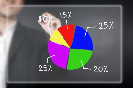 Male hand drawing a pie chart Stock Photo