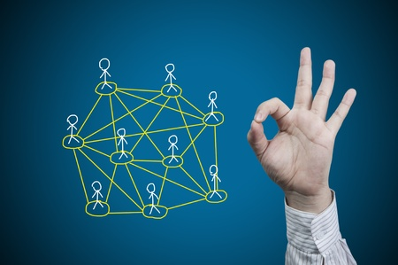 Hand symbol and network photo