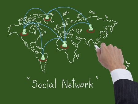 Hand drawing a social network scheme on a blackboard photo