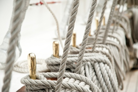Rope on an old sailboat, Close up deatails photo