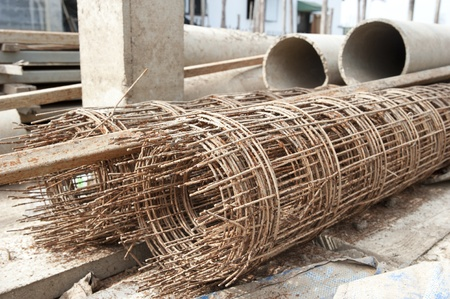 Roll iron grid, part of construction photo