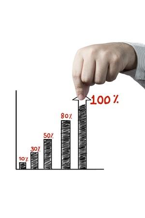 Graphe arrachage à la main isolé sur fond blanc Banque d'images