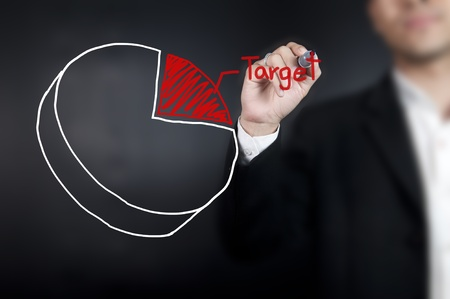 Man drawing a pie chart on whiteboard photo