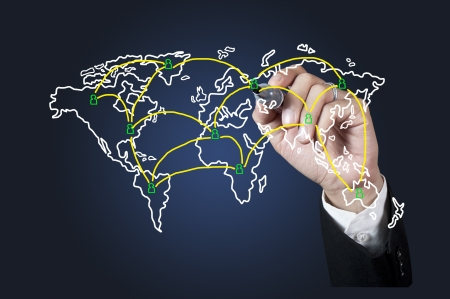 Hand drawing World map network on whiteboard Stock Photo - 13733918