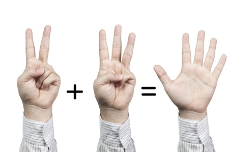 Hand symbol number 2+3=5, isolated on white background photo