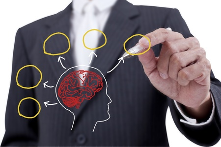 Businessman drawing brain on whiteboard photo