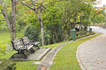 Wooden park bench in the garden Stock Photo