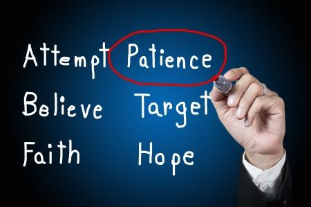 paciencia: Mano con la palabra paciencia pluma de dibujo en la pizarra