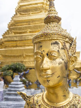 Kinnari statue at Wat Phra Kaew in Grand Palace, Bangkok Thailand  photo