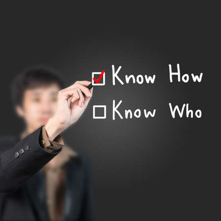 know how: Businessman choose  know how as a choice Stock Photo