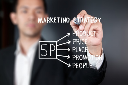 Businessman drawing 5P marketing strategy on whiteboard photo