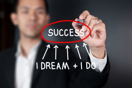 successful leadership: Businessman writing word dream and success on whiteboard