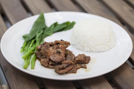 jasmine rice: Cerdo de Teriyaki con arroz jazm�n
