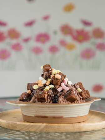 parfait: Chocolate parfait ice-cream with brownie and candy